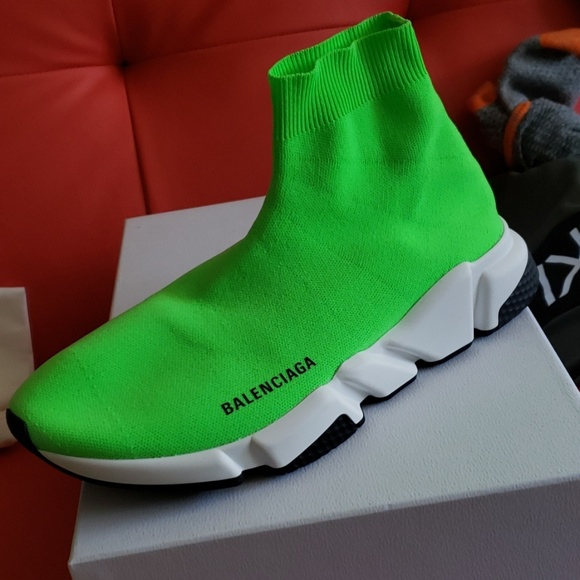 lime green balenciaga sock shoes